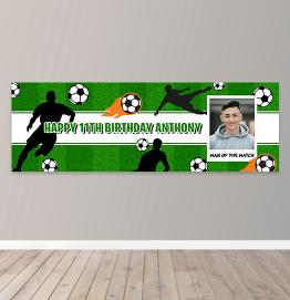 Personalised Football Birthday Photo Upload Banner