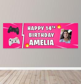 Personalised Girls Gaming Photo Upload Birthday Banner