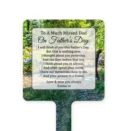 Personalised Garden Bench Fathers Day Memorial Stake