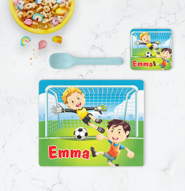 Personalised Football Goal Keeper Placemat & Coaster