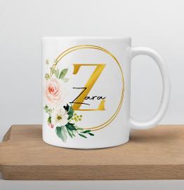 Personalised Gold Initial & Name Mug