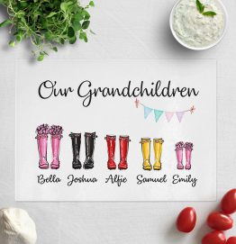Personalised Our Grandchildren Wellies Chopping Board