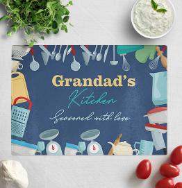 Personalised Grandads Kitchen Glass Chopping Board