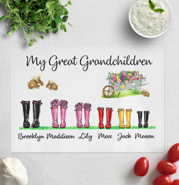 Personalised Our Great Grandchildren Wellies Chopping Board