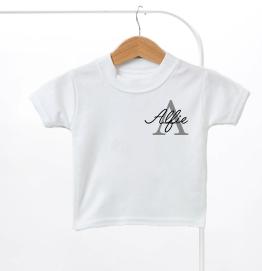 Personalised Grey Name & Initial Kids T-Shirt