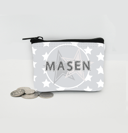 Personalised Grey Stars Coin Purse