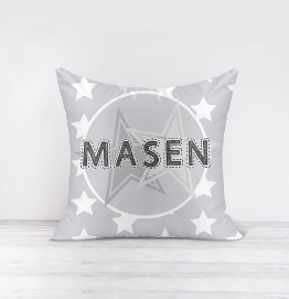 Personalised Grey Stars Cushion