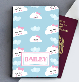 Personalised Happy Clouds Passport Cover