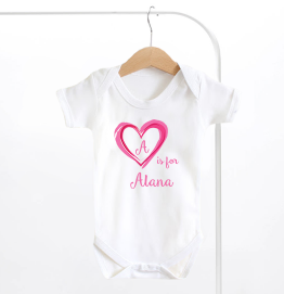 Personalised Name And Initial Pink Heart Baby Grow