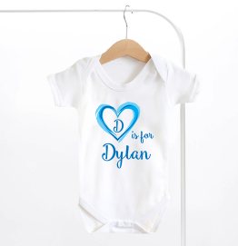 Personalised Name And Initial Blue Heart Baby Grow