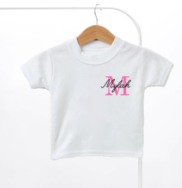 Personalised Pink Name & Initial Kids T-Shirt