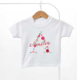 Personalised Floral Name & Initial Kids T-Shirt