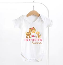Personalised I Love My Big Sister Baby Grow