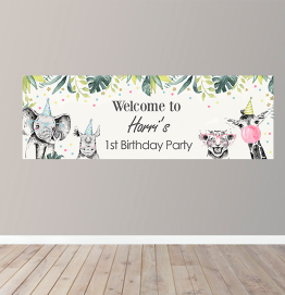 Personalised Girls Happy Birthday Banner