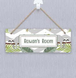 Personalised Green Sloth Door Hanger