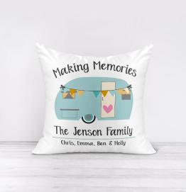 Personalised Making Memories Caravan Cushion