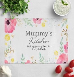 Personalised Mummys Kitchen Glass Chopping Board