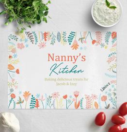 Personalised Nannys Kitchen Glass Chopping Board
