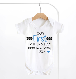 Personalised Our First Fathers Day Baby Grow Boys