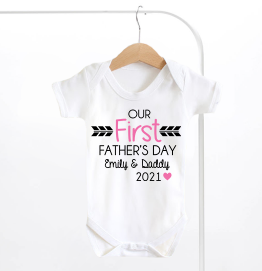 Personalised Our First Fathers Day Baby Grow