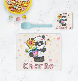 Personalised Panda Bear Placemat & Coaster