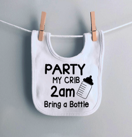 Party at my crib bring a bottle Funny Baby Bib