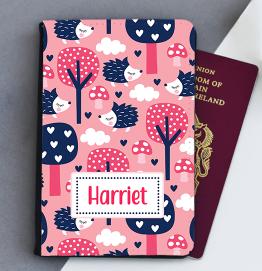 Personalised Pink Hedgehog Passport Cover