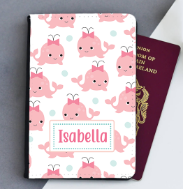 Personalised Pink Whale Passport Cover