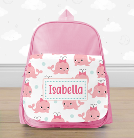 Personalised Pink Whale Mini Backpack