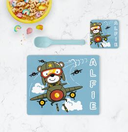 Personalised Army Plane Placemat & Coaster