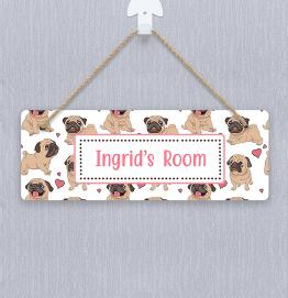 Personalised Pug Dog Door Hanger