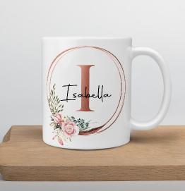 Personalised Rose Gold Initial & Name Mug