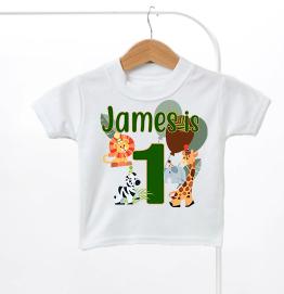 Personalised Safari Animals Birthday Kids T-Shirt