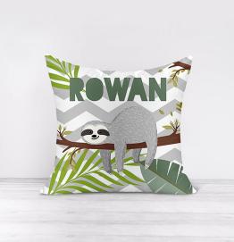 Personalised Sloth Palm Tree Cushion