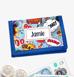 Personalised Superhero Comic Money Wallet