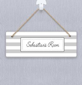 Personalised Grey Stripes Door Hanger