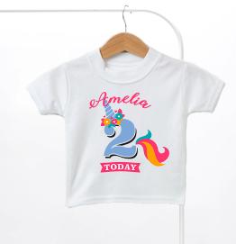 Personalised Unicorn Birthday Kids T-Shirt