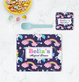 Personalised Unicorn Magical Dinner Placemat & Coaster