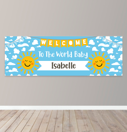 Personalised Welcome To The World Baby Birthday Banner