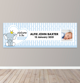 Personalised Boys Welcome To The World Photo Upload Banner