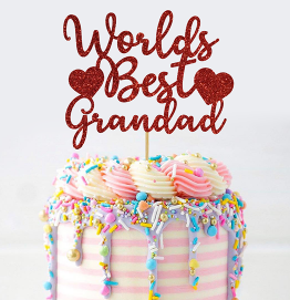 Happy Fathers Day Cake Topper Worlds Best Grandad